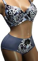 Комплект женского белья большого размера серый 8508