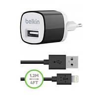 Сетевое зарядное устройство Belkin USB 1A c кабелем Lightning Apple - черный