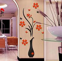 Стикеры пластиковые на стену ваза с цветами и бабочками черный с красным 60*140