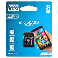 Карты Памяти microSDHC 8GB Goodram Class 4 + SD-adapter (M40A-0080R11)