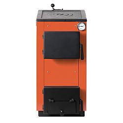 Котел твердотопливный 12кВт MaxiTerm с плитой и косой загрузкой топлива