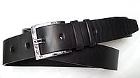 Джинсовый ремень 45 мм черный гладкий пряжка хромированная