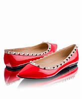 Женские лаковые  балетки модель Valentino  красные