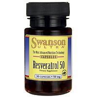 Ресвератрол Антиоксидант, Resveratrol 50, Swanson, 30 капсул