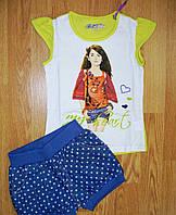 Костюмы для девочек джинсовые шорты в горошек + футболка 3-8 лет из Венгрии. В остатке 98р.