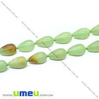 Бусина натуральный камень Оникс зеленый, 17х10 мм, Капля, 1 шт (BUS-006385)