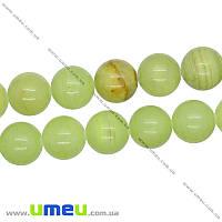 Бусина натуральный камень Оникс зеленый, 14 мм, Круглая, 1 шт (BUS-016275)