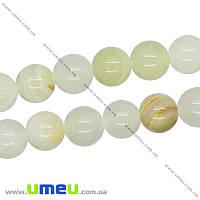 Бусина натуральный камень Оникс желтый, 10 мм, Круглая, 1 шт (BUS-016311)