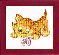 Набор для вышивки крестиком детский. Знакомство с бабочкой