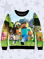Оригинальный детский свитшот/реглан Minecraft с прикольным 3D рисунком.