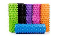 Роллер массажный (Grid Roller) для йоги, пилатеса, фитн. FI-4942 (d-14,5см, l-45см, цвета в ассортименте) фиолетовый