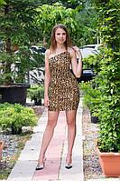 Платье женское на одно плечо с брошью - Леопардовый