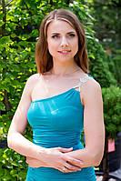 Платье женское на одно плечо с брошью - Бирюзовый