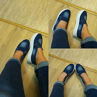 Женские джинсовые слопоны,балетки на толстой подошве