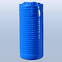 Емкость 200л узкая, вертикальная, двухслойная, синяя
