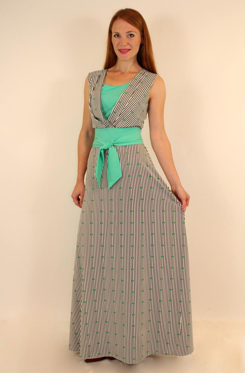 Длинное летнее платье в полоску 44-50 р