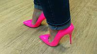 Туфли лодочки   розовые неон   лак