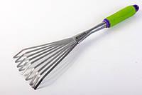 Грабли веерные PALISAD, 9-зубые, обрезиненная рукоятка, может использоваться в сборе с ручкой