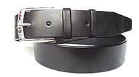 Джинсовый ремень 45 мм черный гладкий пряжка хромированная серебрянная