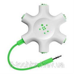Разветвитель для наушников belkin jack 3.5мм/jack 3.5мм x5 rockstar green (f8z274ea)