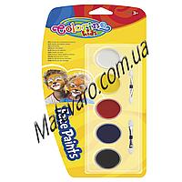Краски для лица,   5  цветов,  легко смешиваются между собой, с двумя кисточками