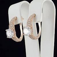 Шикарные сверкающие серьги с кристаллами Сваровски позолота