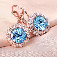 Красивые классические женские серьги с голубыми камнями позолота
