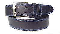 Джинсовый кожаный ремень 45 мм синий двухпальчиковый прошитый двойной синей ниткой