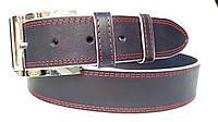 Джинсовый ремень 45 мм синий с красной ниткой белыми краями пряжка серебрянная текстурированнаяквадратная