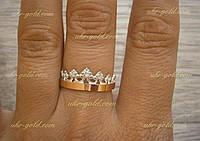 Серебряное кольцо корона со вставками золота 375 пробы.