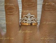 Серебряное кольцо корона со вставками золота.