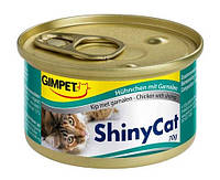 Консервы Gimpet Shiny Cat Chiken Shrimp для кошек с креветками и  кусочками курицы, 70 г