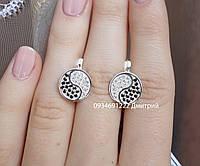 Серебряные серьги Инь и ян