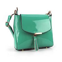 Бирюзовая лаковая сумочка маленькая с клапаном, фото 1