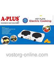 А-Плюс 2104, двух конфорочная электроплита, плита без духовки, анти-пригарная, электроплита A-Plus 2104