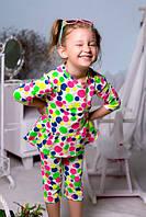 Детский костюм для девочки Туника и капри в горошек
