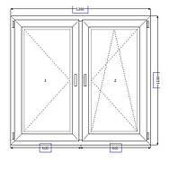 Пластиковые окна 1200*1100 поворотно-откидное
