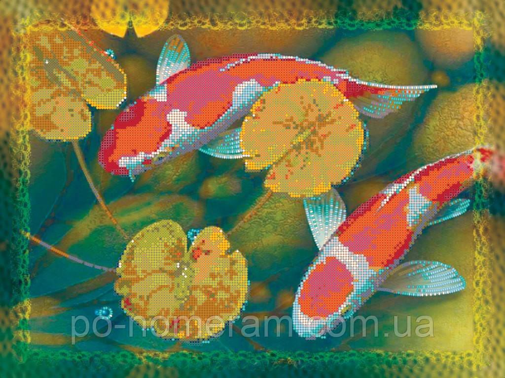 Частичная вышивка бисером Идейка Пара карпов Кои (ВБ1054) 30 x 40 см