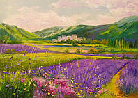 «Лавандовое поле у гор» картина маслом