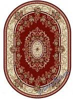 """Синтетический овальный ковер """"Цветочная арка""""  Lotos Karat , цвет красный"""