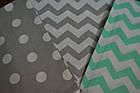 Сменная детская постель Asik Мятные серые зигзаги и горохи на сером 3 предмета (С-0027), фото 2