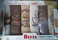Набор вафельных кухонных полотенец с вышевкой Beyza 6 шт 40х60 см