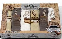Набор вафельных кухонных полотенец с вышевкой Calista 6 шт 40х60 см