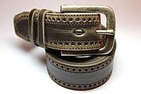 Эксклюзивный коричневый ремень на джинсы с перфорацией