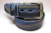 Эксклюзивный синий ремень на джинсы с рыжей строчкой
