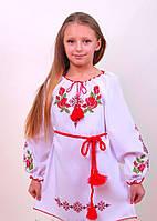 Вышитое платье для девочки с уникальным орнаментом на белом габардине