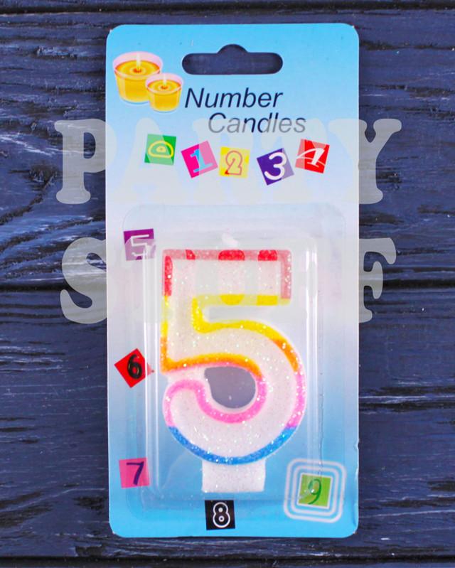 свеча для торта цифра 5 с блестками