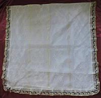 Ритуальный Покрывало тюль с крестами, и оборкой из белорусского кружева.