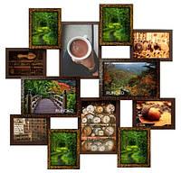 Деревянная мультирамка Мега путешествие золотой шоколад на 12 фото
