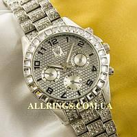 Кварцевые женские наручные часы Rolex silver silver